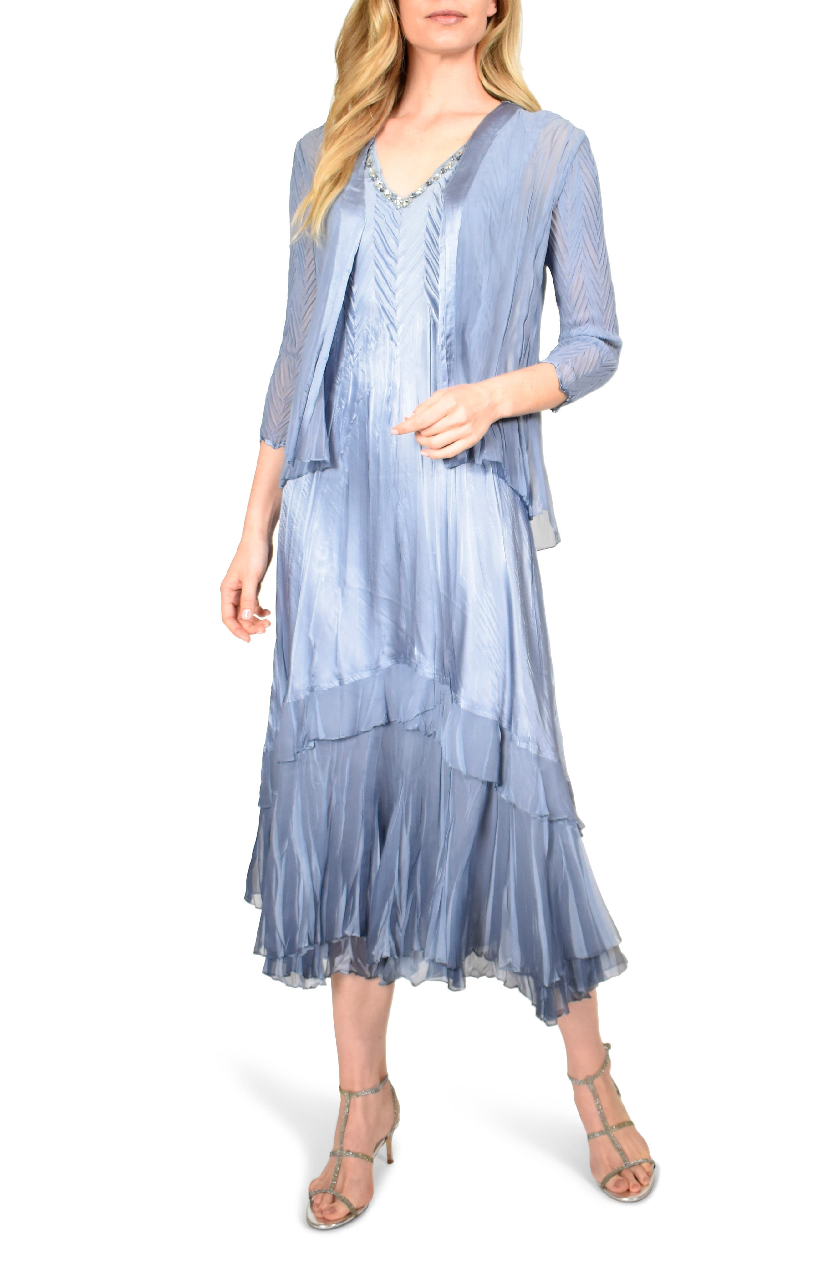 Vintage 1920s Dresses – Where to Buy Womens Komarov Beaded Neck Charmeuse Midi Dress With Chiffon Jacket $458.00 AT vintagedancer.com