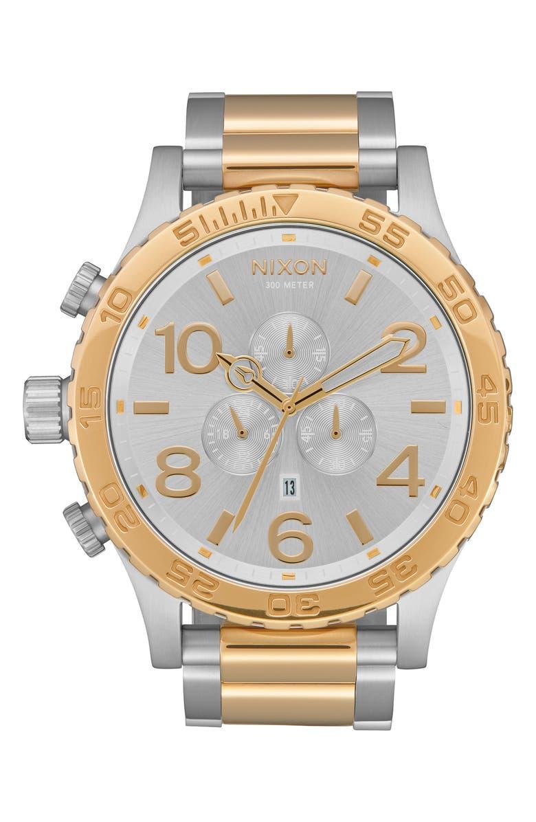 NIXON 'The 51-30 Chrono' Watch, 51mm, Main, color, SILVER/ GOLD