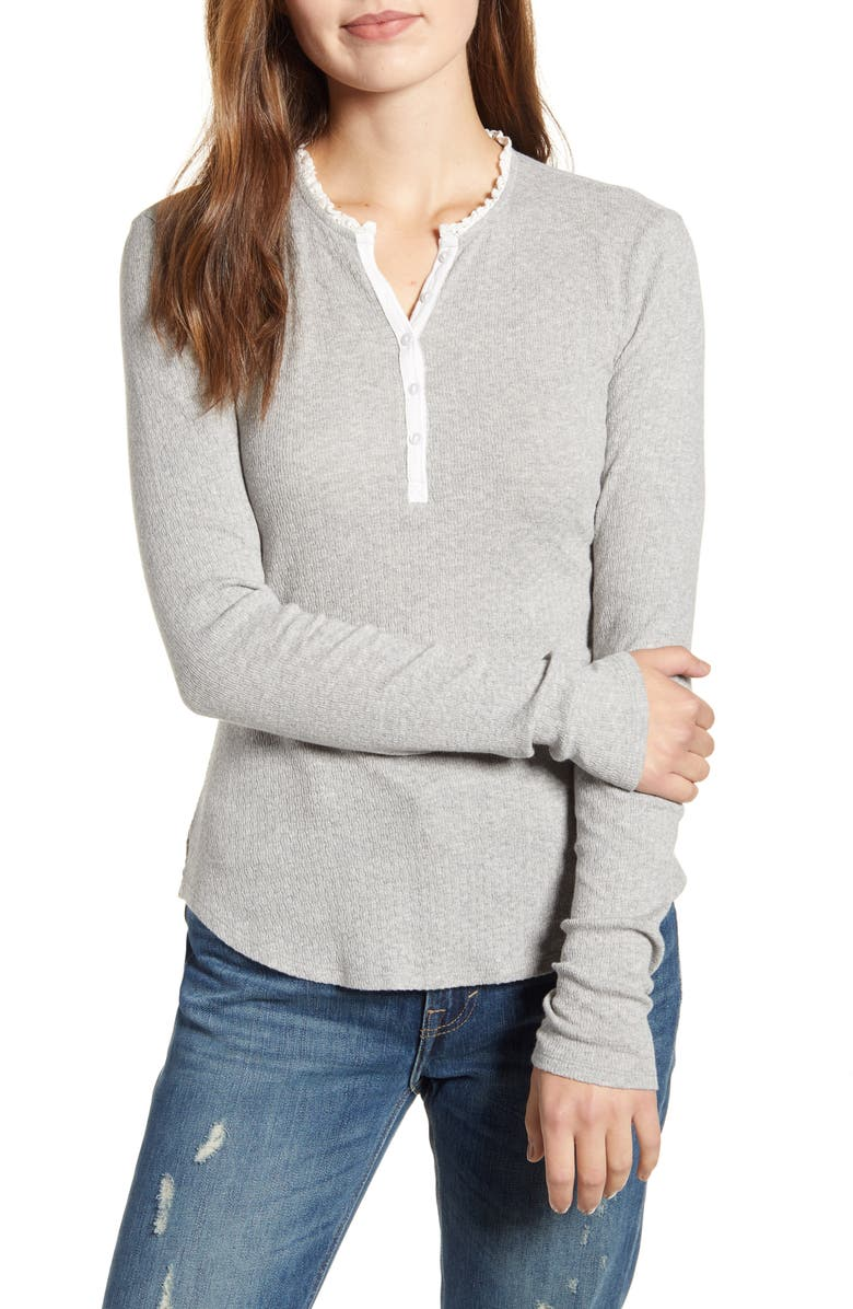 LUCKY BRAND Lace Trim Thermal Henley Top, Main, color, 030