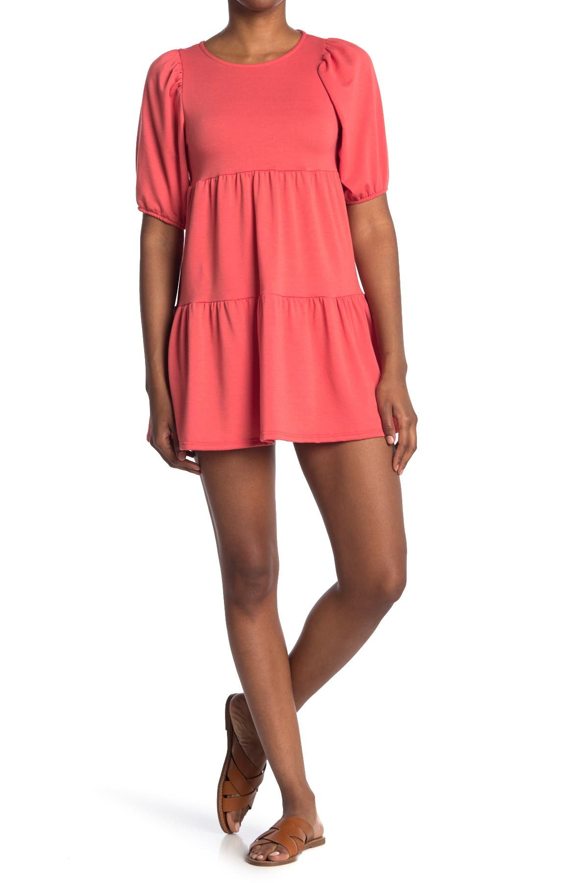 Image of Velvet Torch Puff Sleeve Tiered Mini Dress