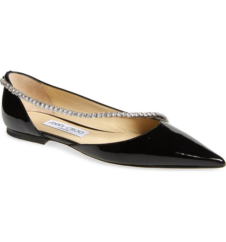 JIMMY CHOO Trude Embellished Patent Flat, Main, color, 001