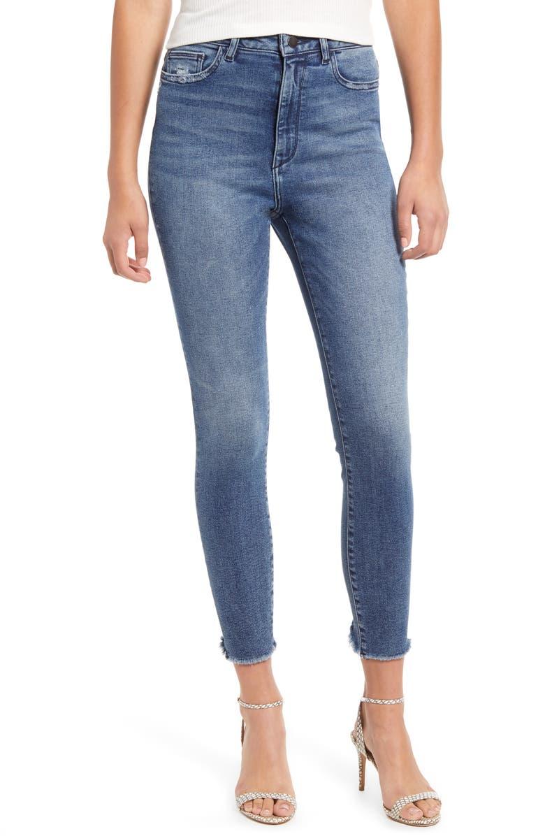 DL1961 Chrissy High Waist Raw Hem Ankle Skinny Jeans, Main, color, SEVILLE