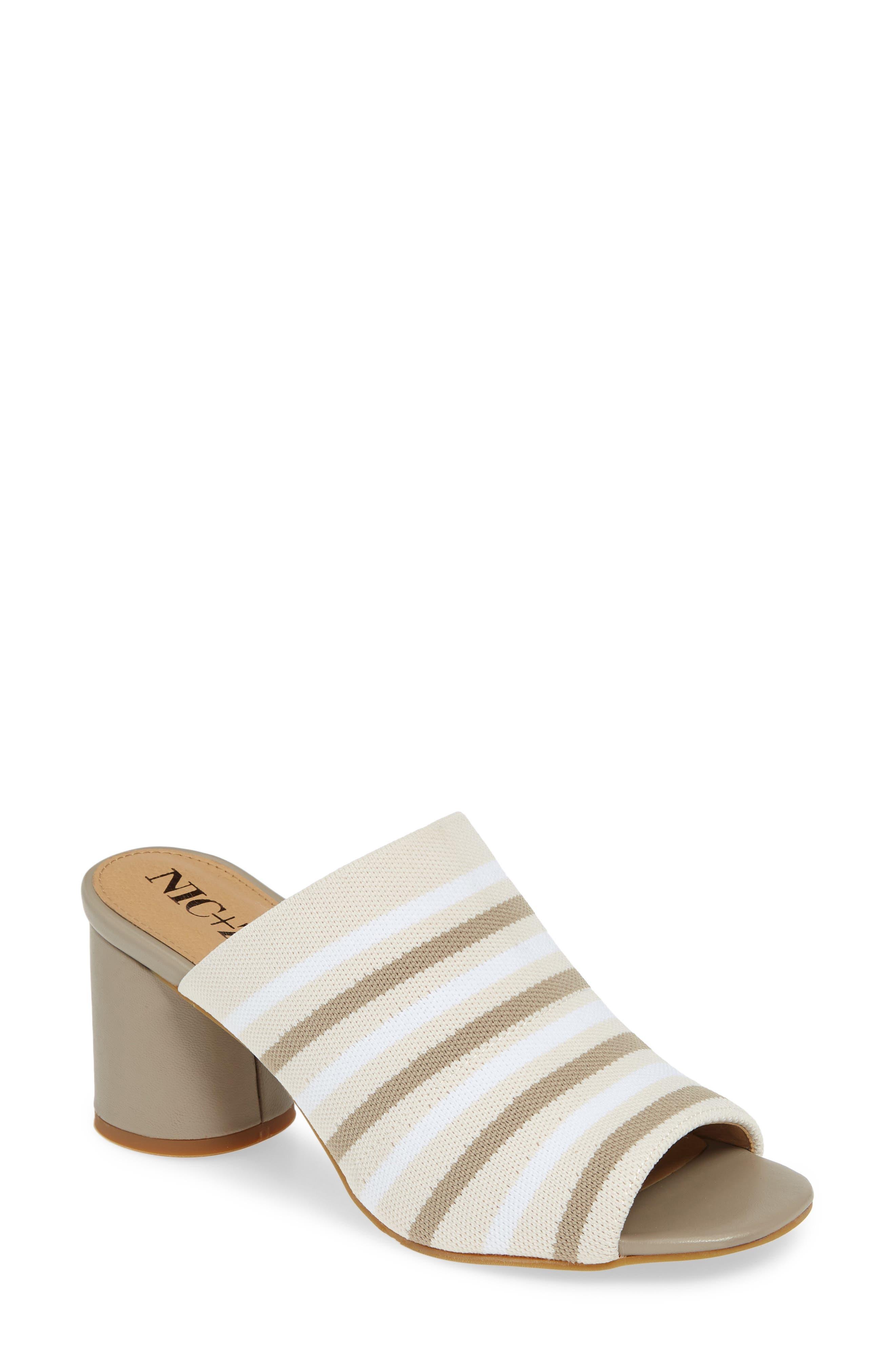 Nic+Zoe Padma Stripe Knit Mule Sandal- White