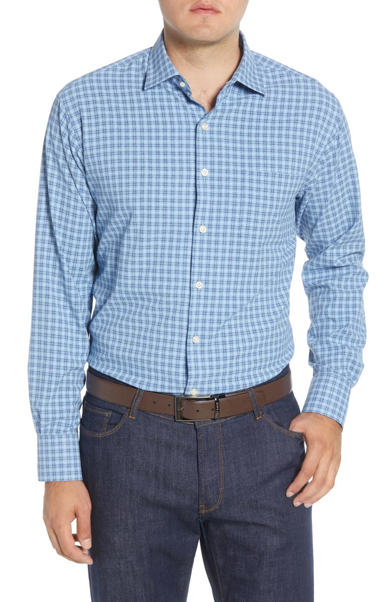 PETER MILLAR Hartford Regular Fit Plaid Button-Up Performance Sport Shirt, Main, color, NAVY
