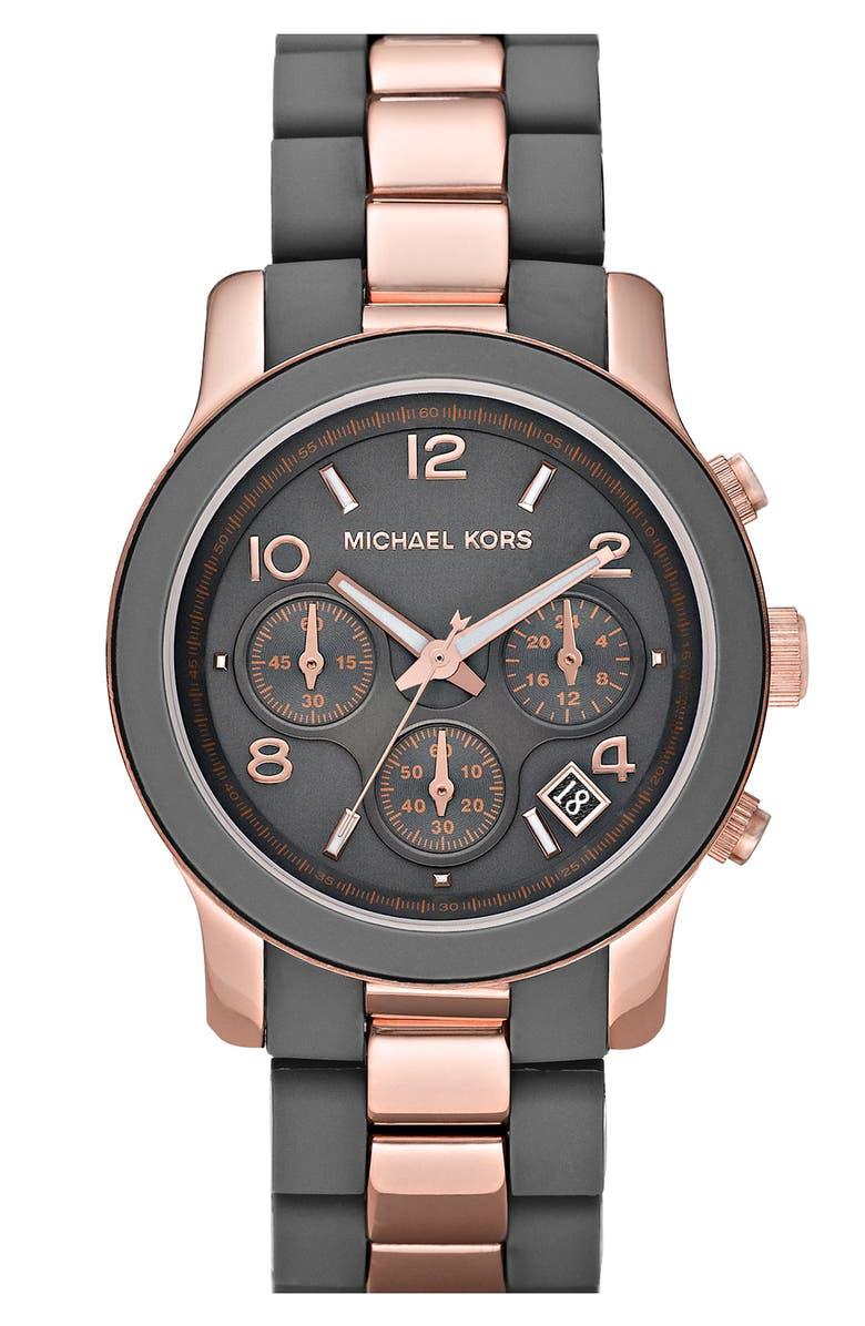MICHAEL MICHAEL KORS Michael Kors 'Silicone Runway' Rose Gold Chronograph Watch, Main, color, 020