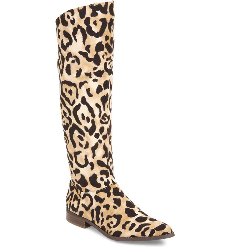 BAND OF GYPSIES Luna Knee High Boot, Main, color, LEOPARD PRINT FABRIC