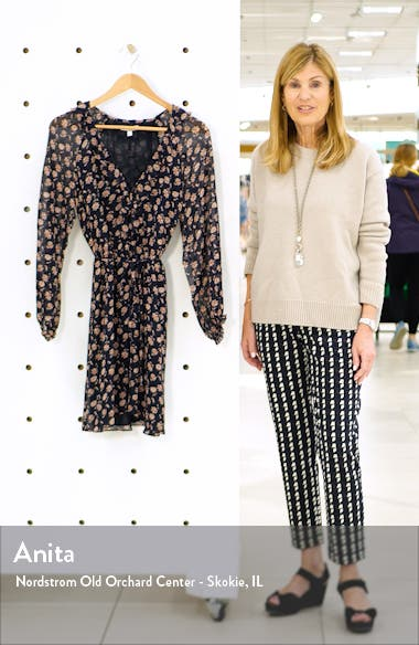 Marelle Ruffle Neck Long Sleeve Silk Dress, sales video thumbnail