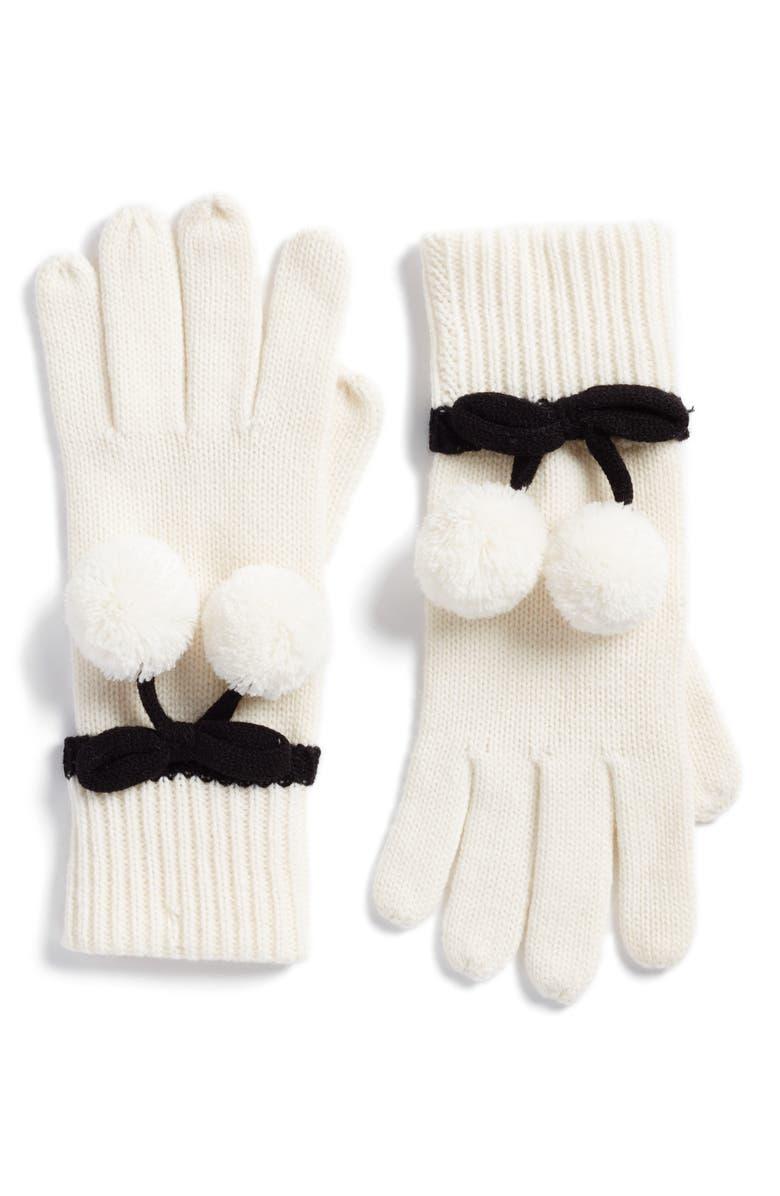 KATE SPADE NEW YORK bow pom gloves, Main, color, 142