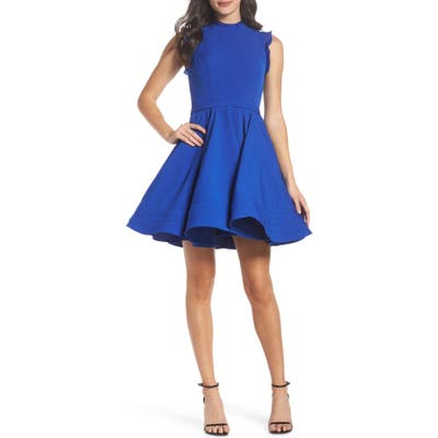 MAC Duggal Embellished Ruffle Fit & Flare Dress, Blue