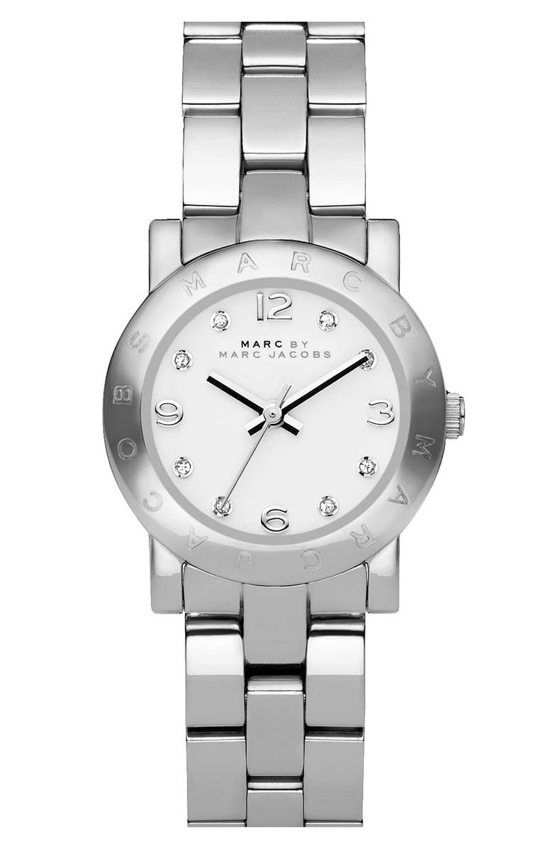 MARC JACOBS 'Small Amy' Crystal Bracelet Watch, 26mm, Main, color, 040
