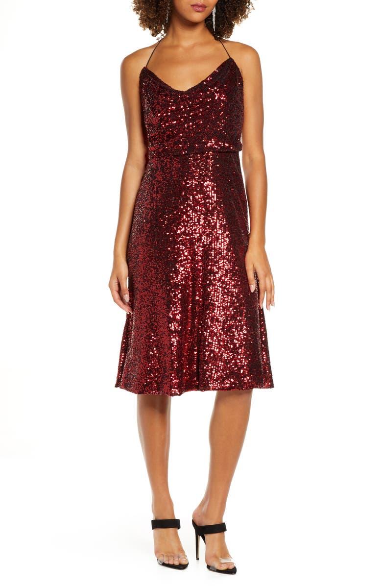 DRESS THE POPULATION Zherra Sequin Midi Dress, Main, color, DARK RUBY