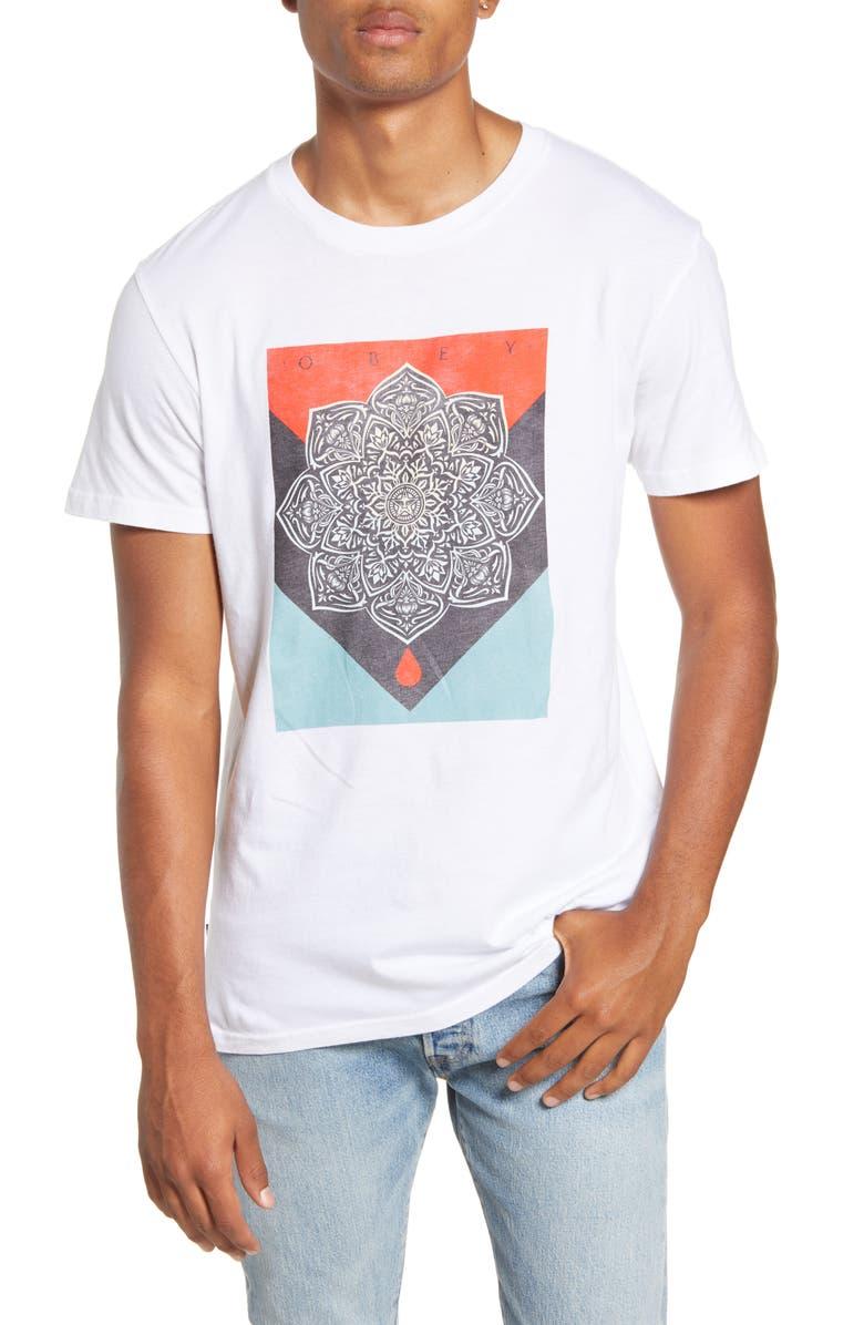 OBEY Blood & Oil Mandala Crewneck T-Shirt, Main, color, WHITE