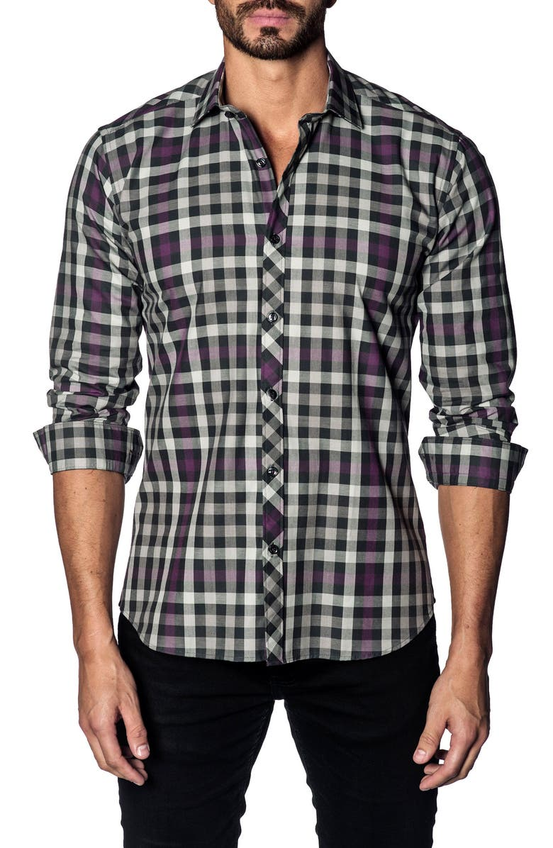 JARED LANG Slim Fit Check Shirt, Main, color, WHITE BLACK PURPLE CHECK