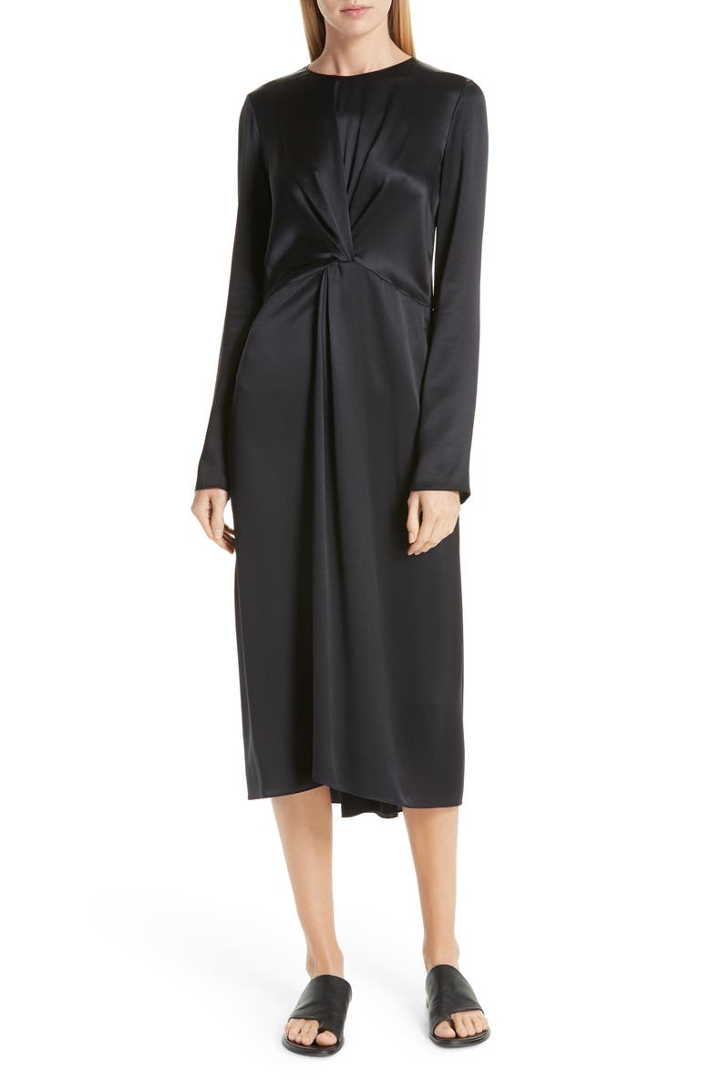 VINCE Front and Back Twist Silk Dress, Main, color, 001