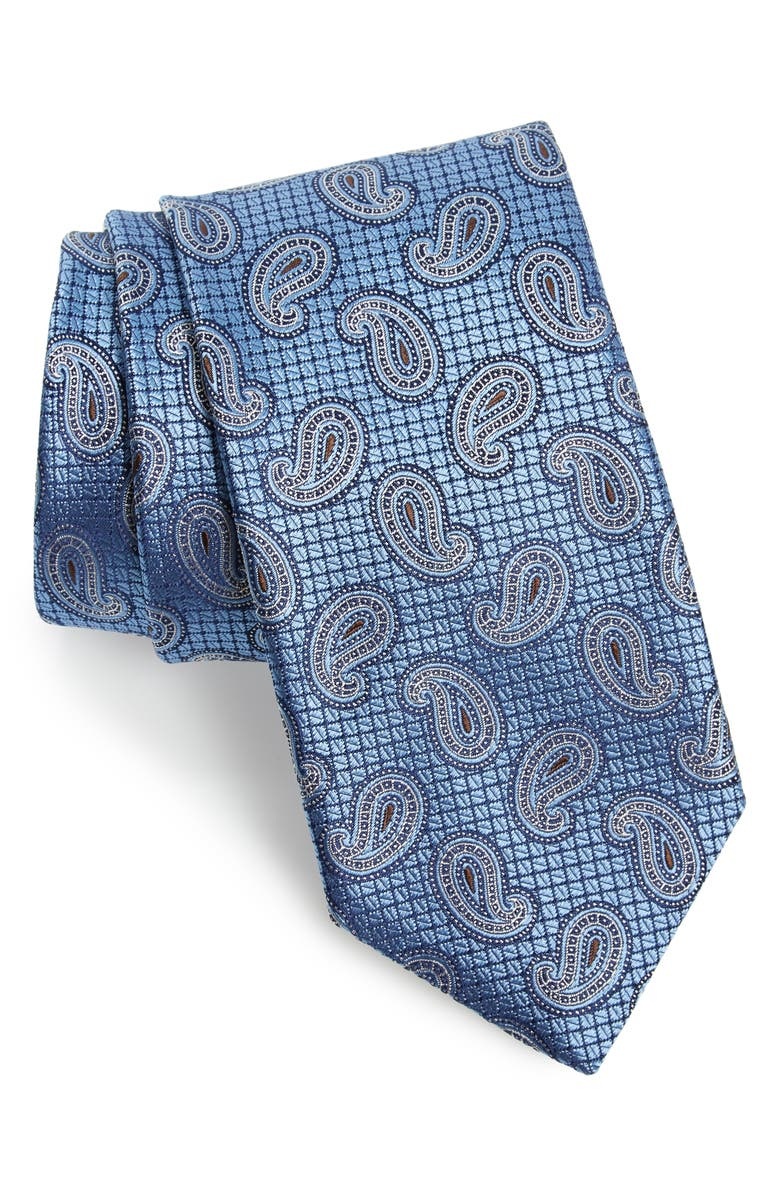 CANALI Paisley Silk Tie, Main, color, LIGHT BLUE