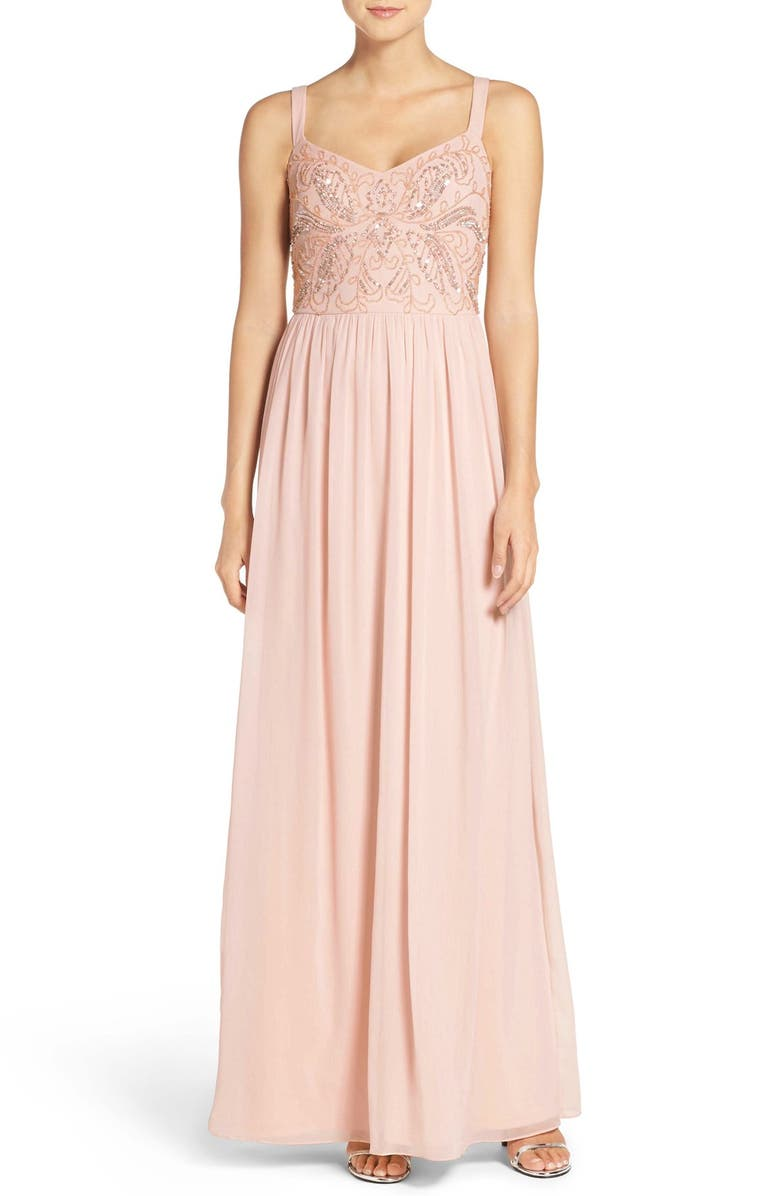 ADRIANNA PAPELL Embellished Bodice Chiffon Gown, Main, color, 684
