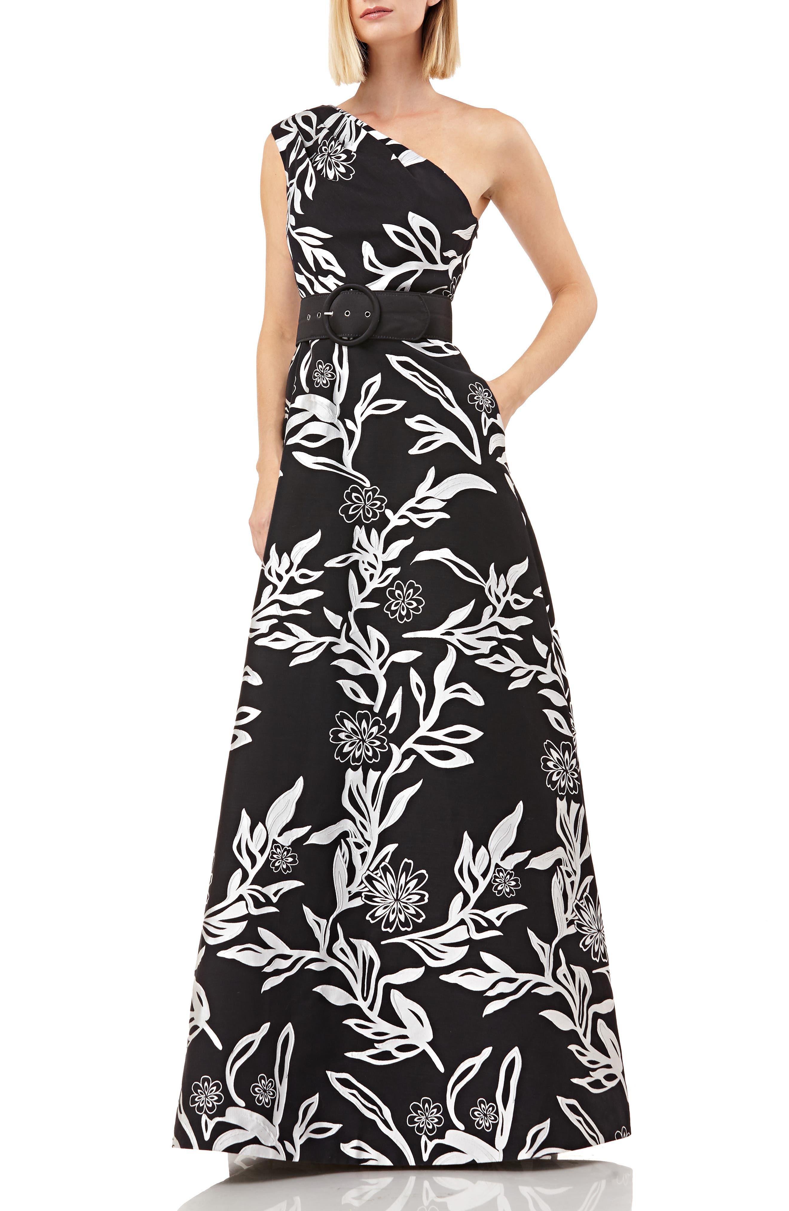 Kay Unger One-Shoulder Jacquard Gown, Black