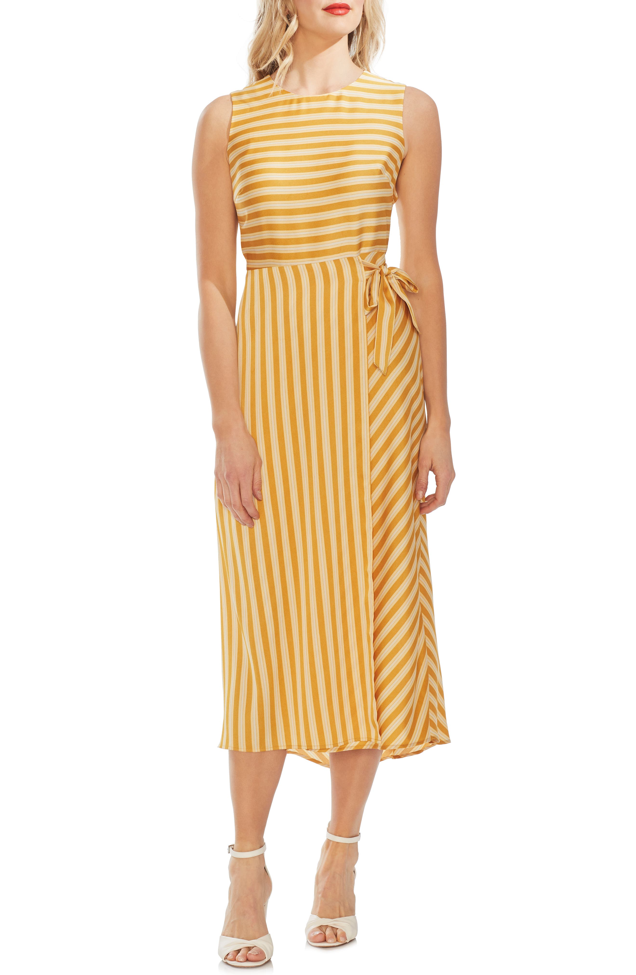 Vince Camuto Bay Stripe Side Tie Midi Dress, Yellow