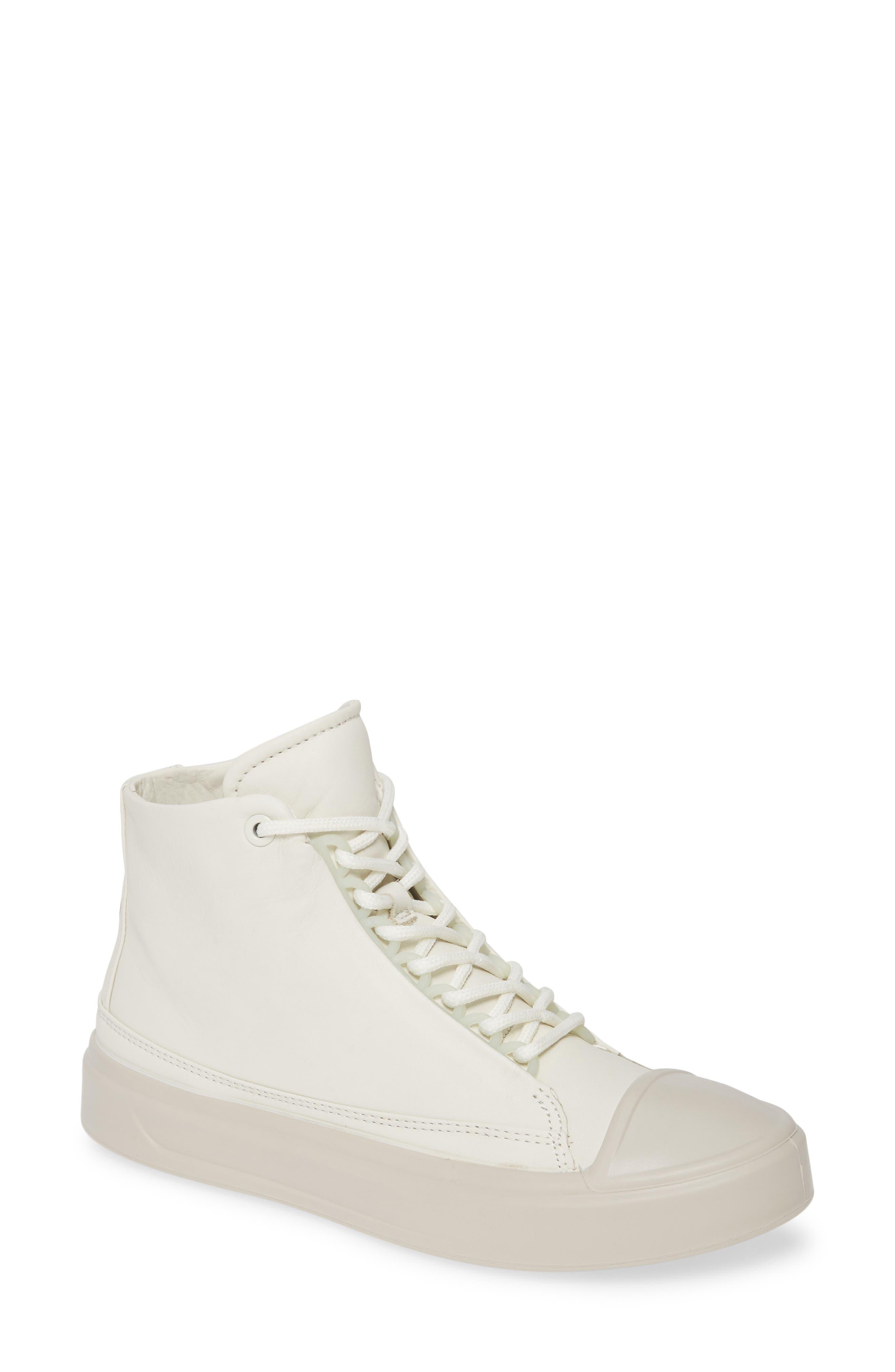 Ecco Flexure Cap Toe High Top Sneaker, White