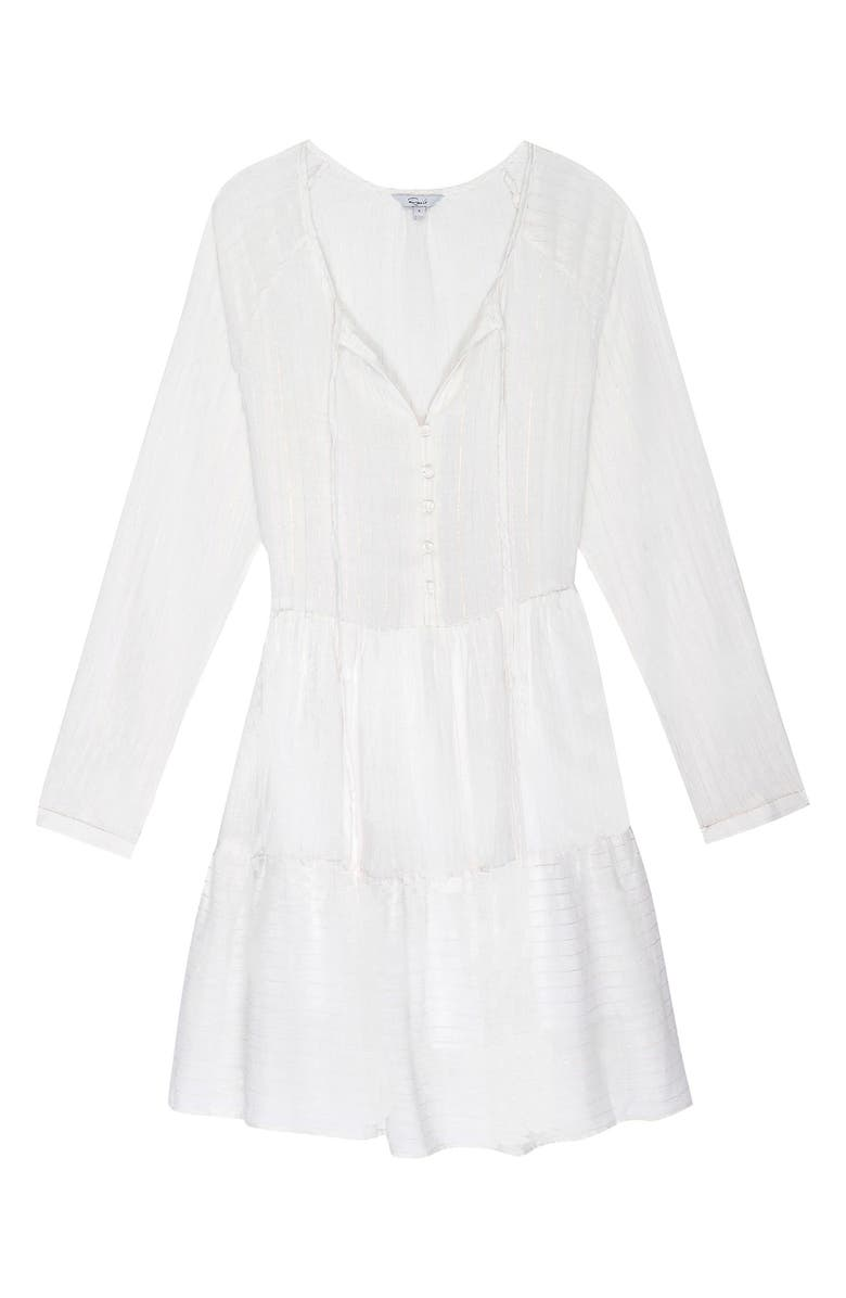 RAILS Jayla Long Sleeve Minidress, Main, color, WHITE TEXTURED STRIPE