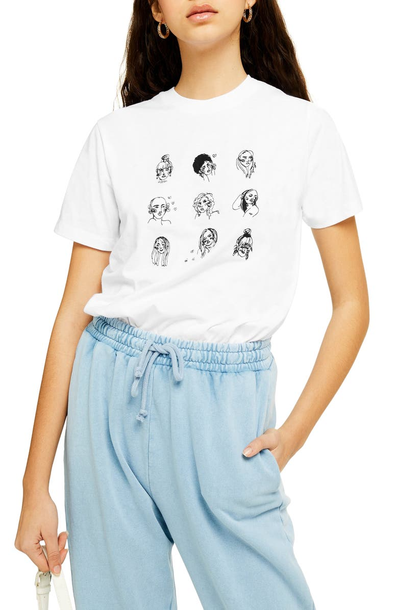 TOPSHOP By Tee & Cake Sketch Girl Tee, Main, color, WHITE MULTI
