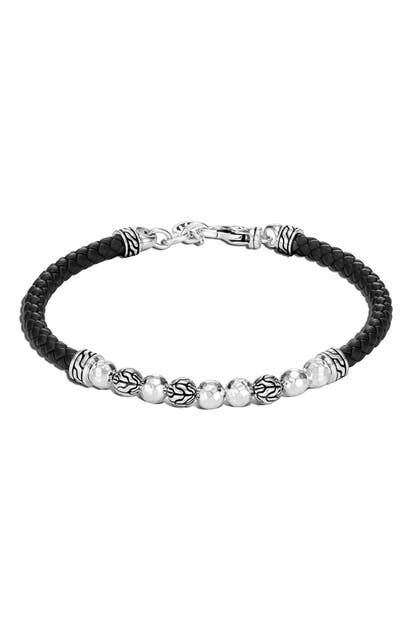 John Hardy CLASSIC HAMMERED SILVER & LEATHER BRACELET