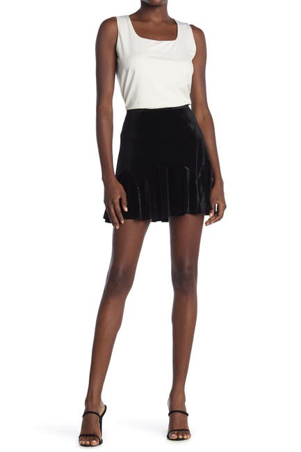 Image of ROW A Godet Pleated Velvet Mini Skirt