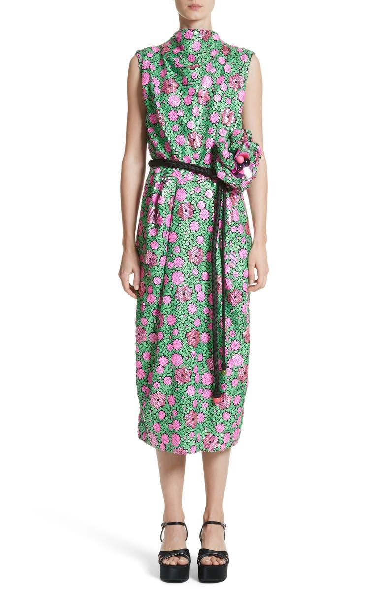 MARC JACOBS Floral Sequin Midi dress, Main, color, 300