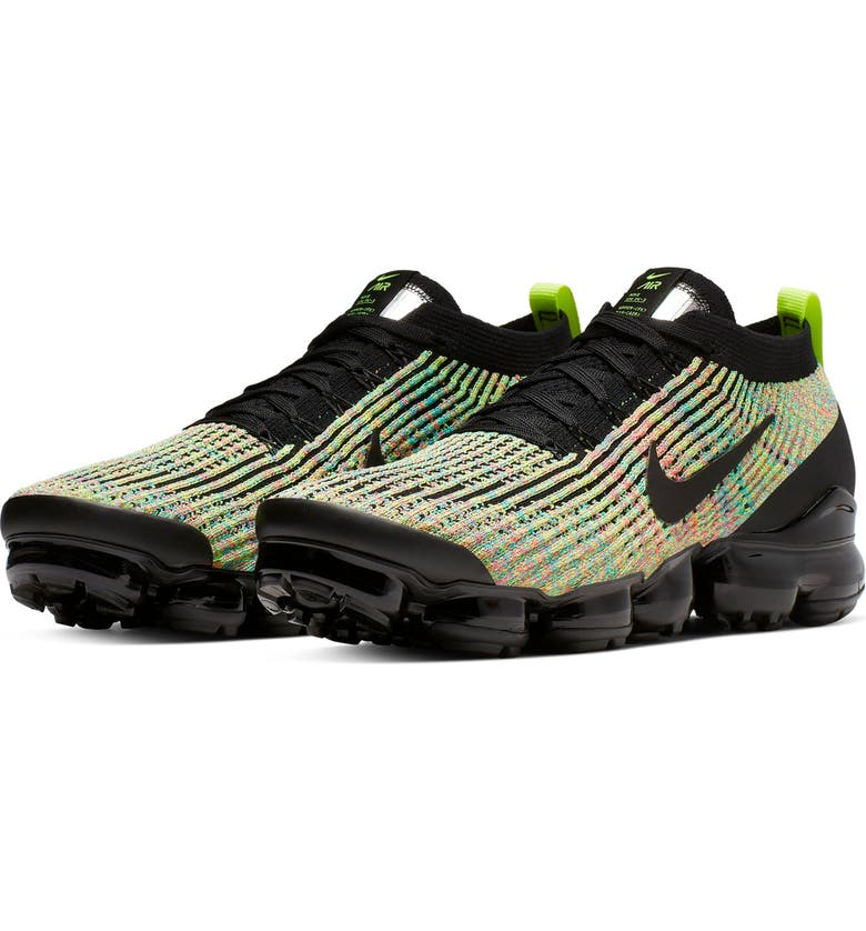 NIKE Air VaporMax Flyknit 3 Sneaker, Main, color, BLACK/ VOLT/ BLUE LAGOON