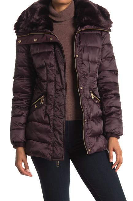 Image of Nine West Faux Fur Trim Hood Quilted Puffer Jacket