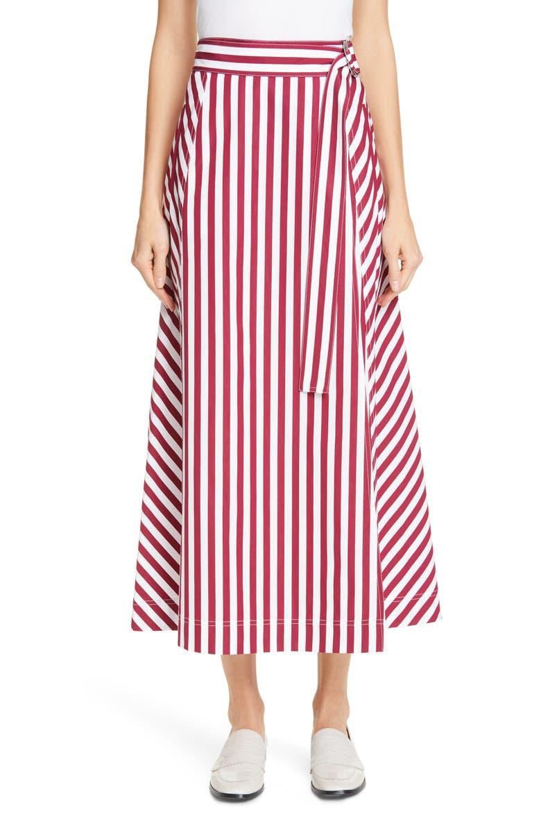 LAFAYETTE 148 NEW YORK Nimah Stripe Belted Midi Wrap Skirt, Main, color, 600