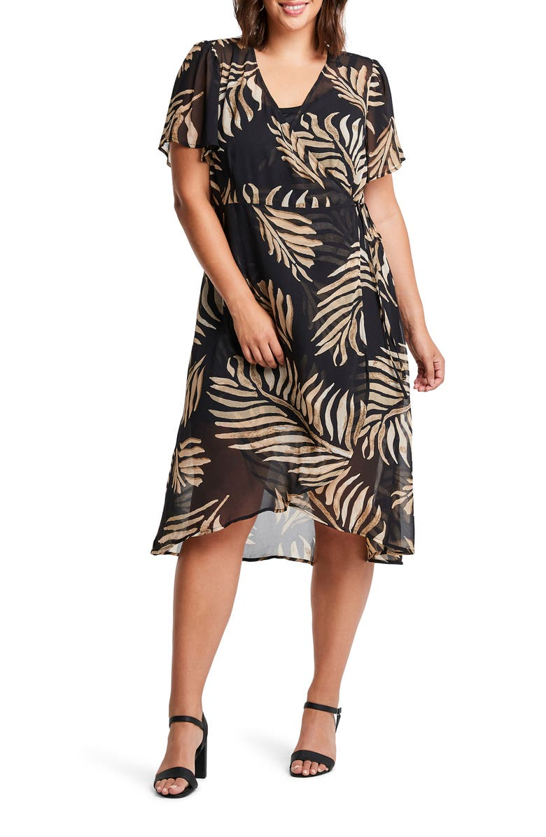 ESTELLE Wild Fern Midi Wrap Dress, Main, color, PRINT