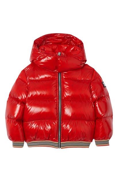 Burberry Kids' Girl's Josiah Short Puffer Coat W/ Icon Stripe Trim In Red