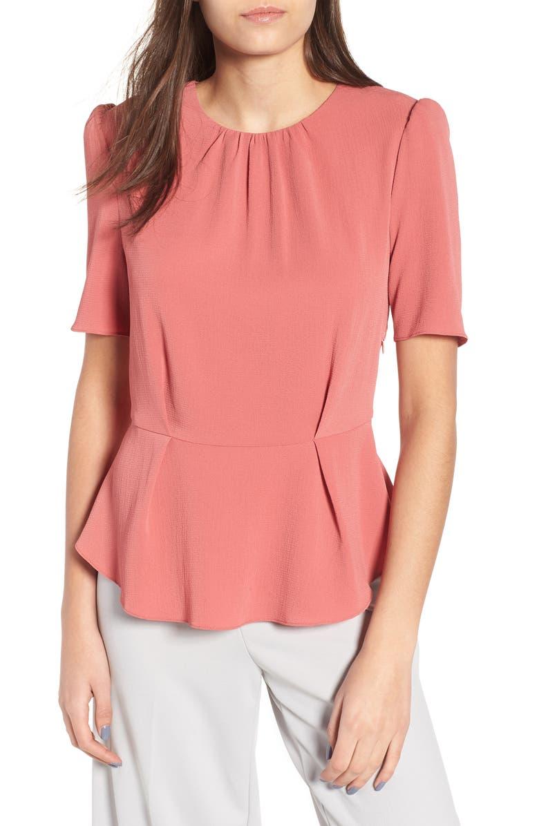 WAYF Short Sleeve Peplum Top, Main, color, 600