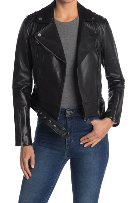 Image of Soia & Kyo Leather Moto Jacket