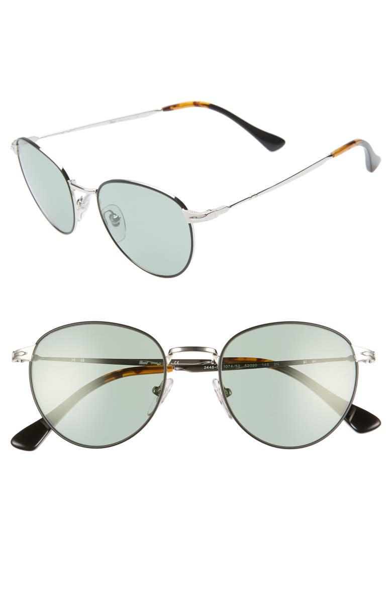 PERSOL 52mm Round Sunglasses, Main, color, BLACK/ SILVER/ GREEN