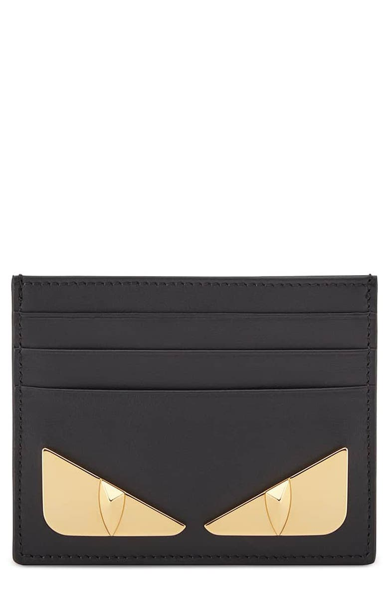 FENDI Monster Leather Card Holder, Main, color, 006