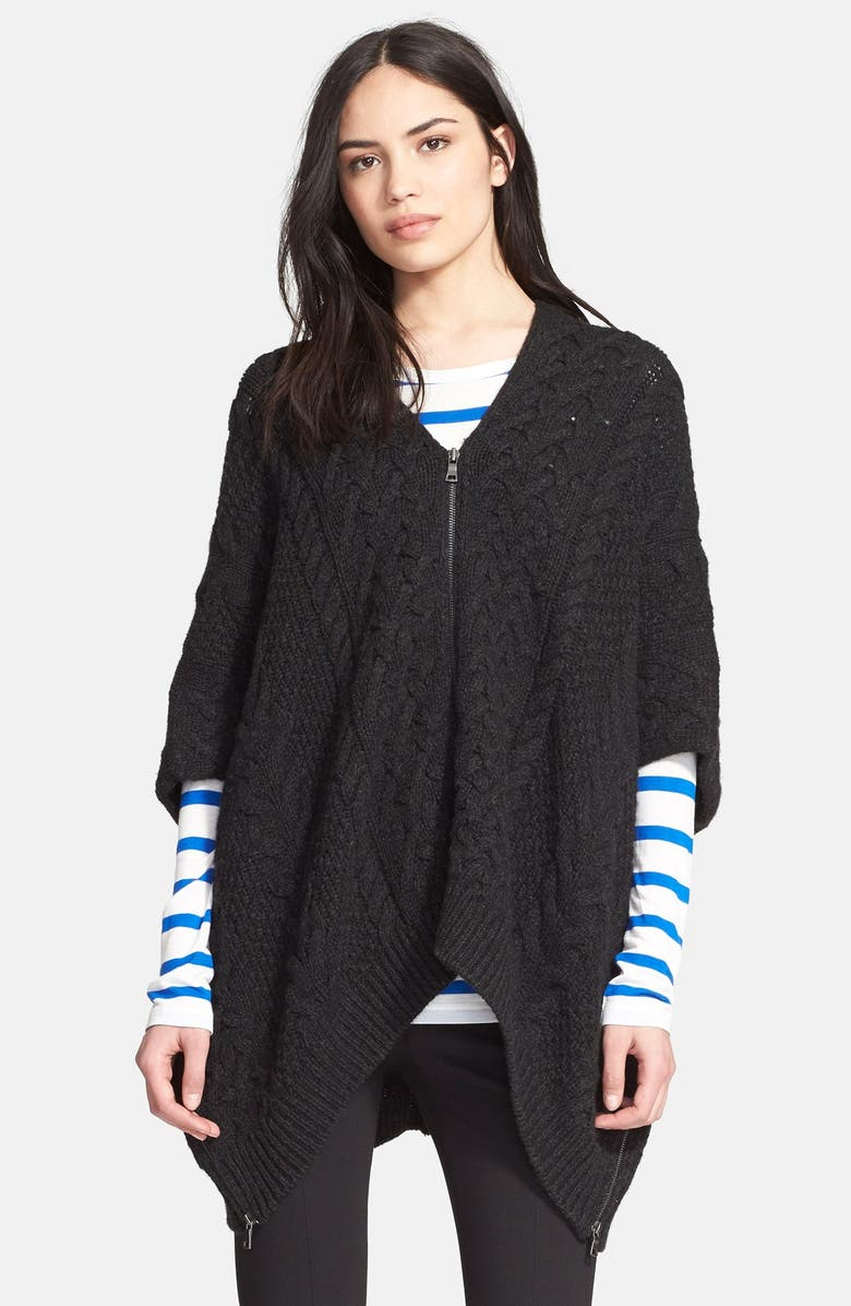 VINCE Cable Knit Poncho, Main, color, 021