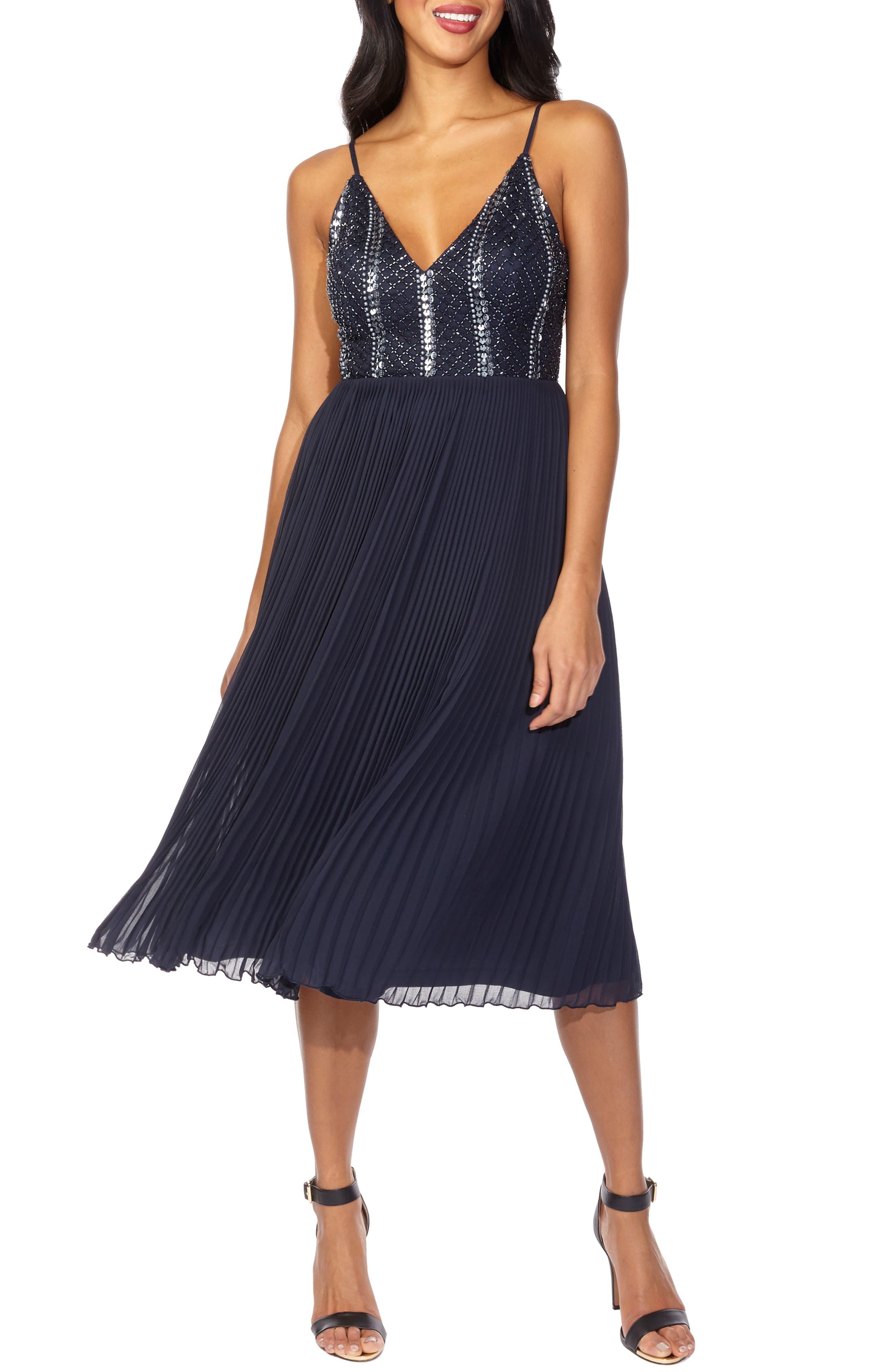 Lace & Beads Cylia Mulan Embellished & Pleated Cocktail Dress, Blue