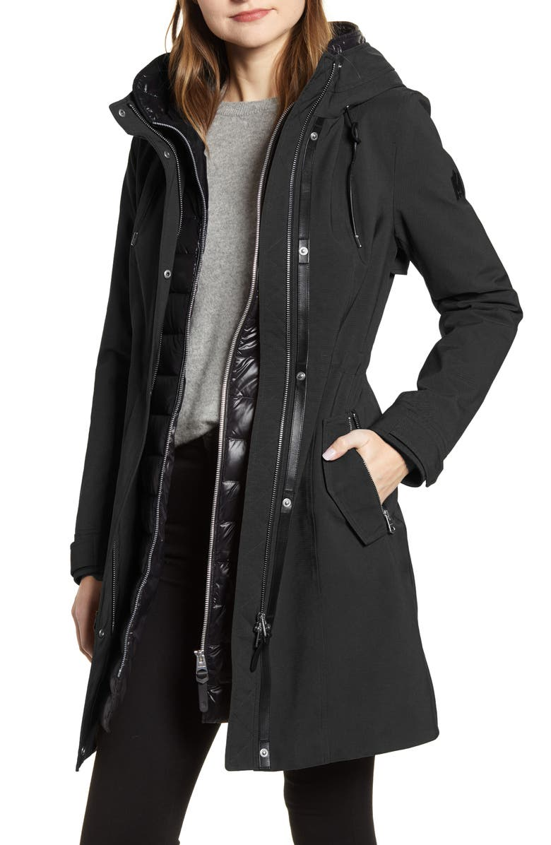 MACKAGE Katie Hooded Raincoat with Removable Down Liner, Main, color, 001