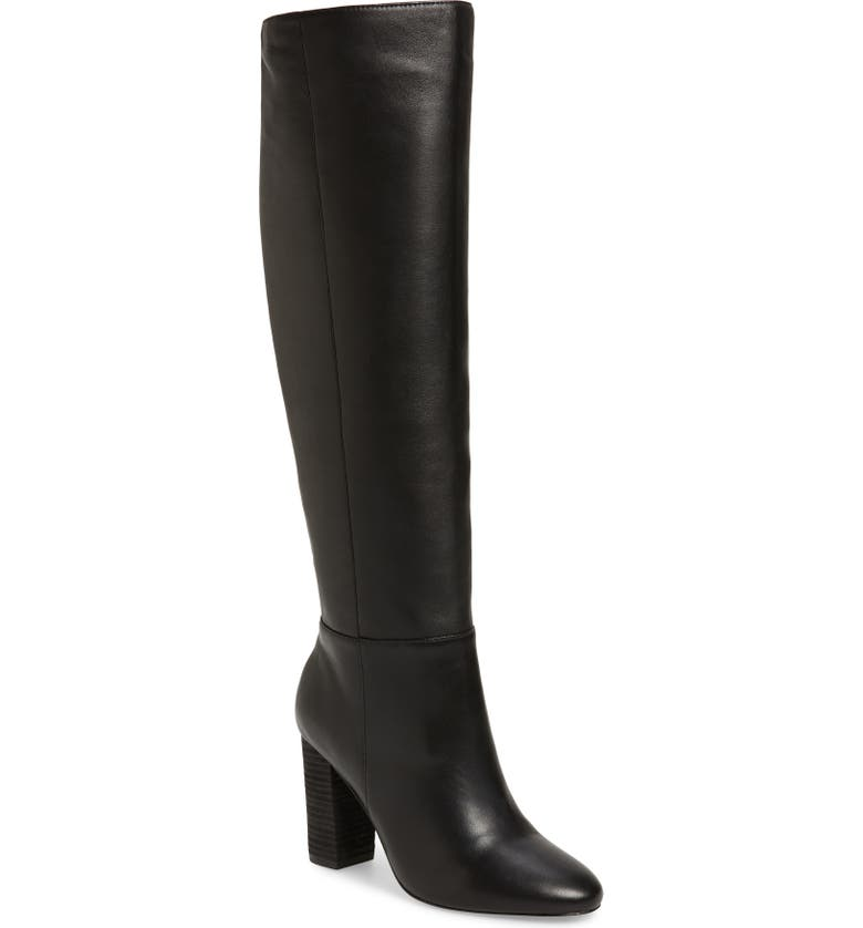 CHARLES DAVID Intermix Knee High Boot, Main, color, BLACK LEATHER