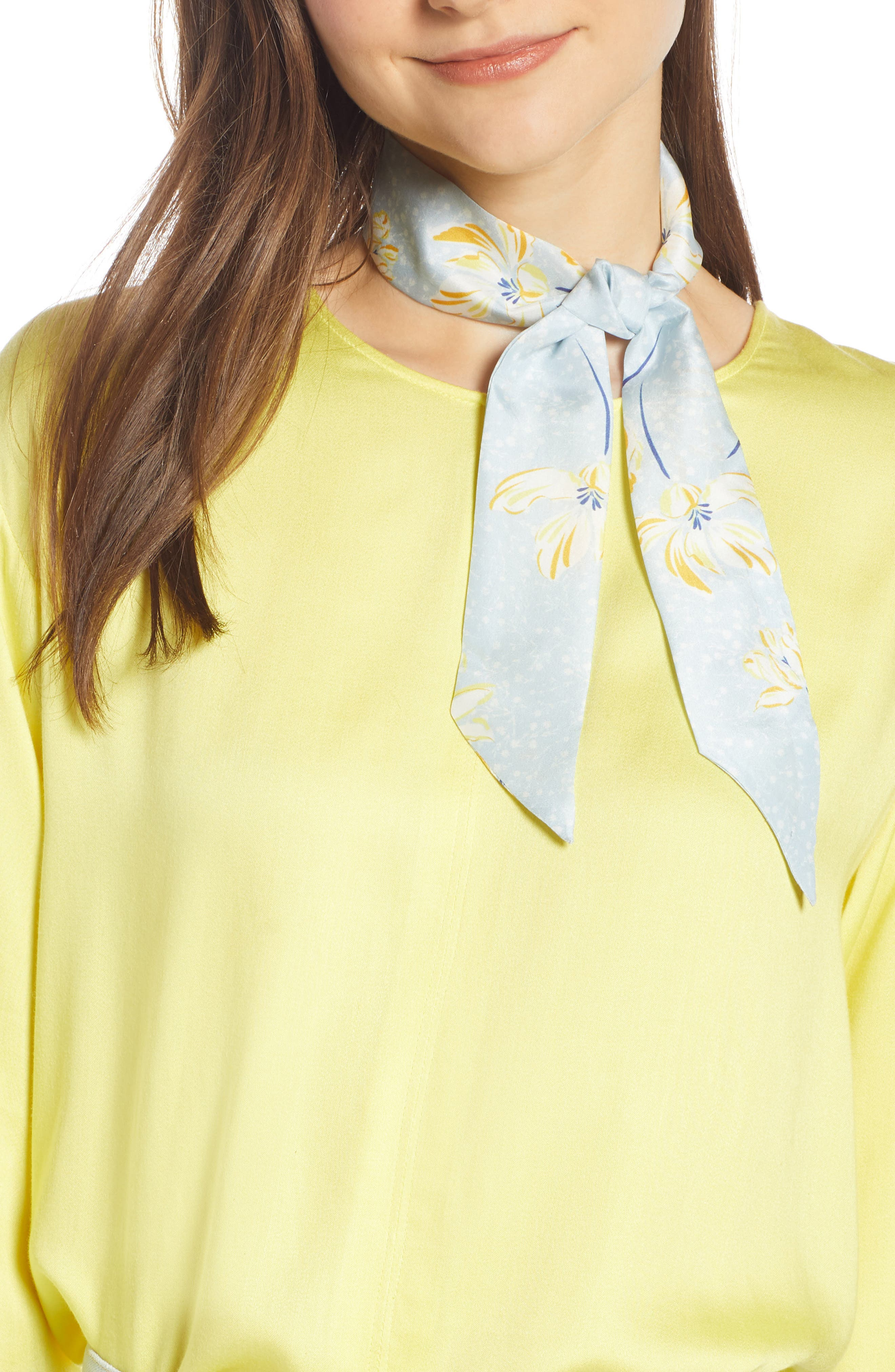 Silk Skinny Scarf, Main, color, BLUE SPRING FLORAL