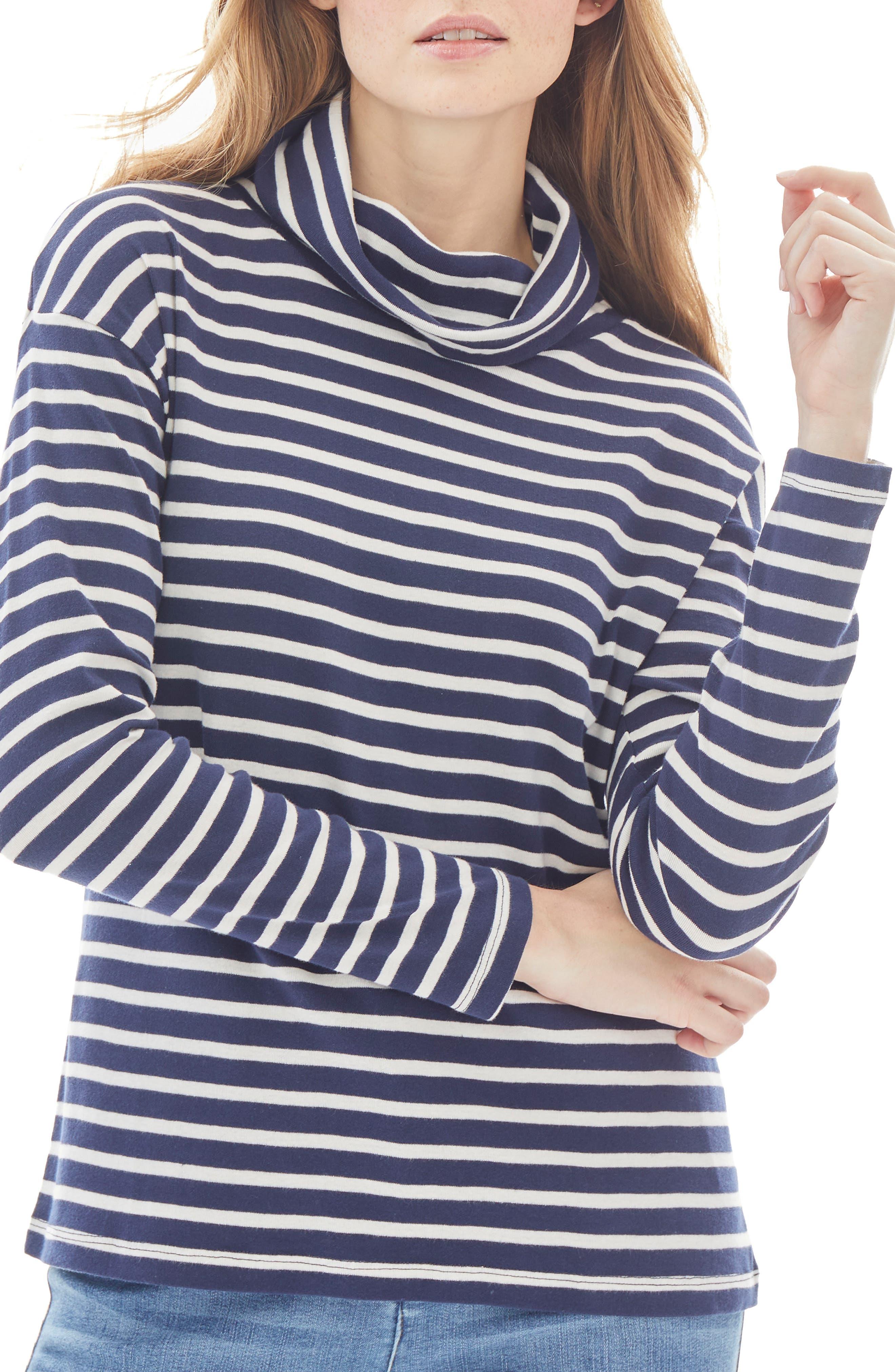 Stripe Cowl Neck Cotton Top