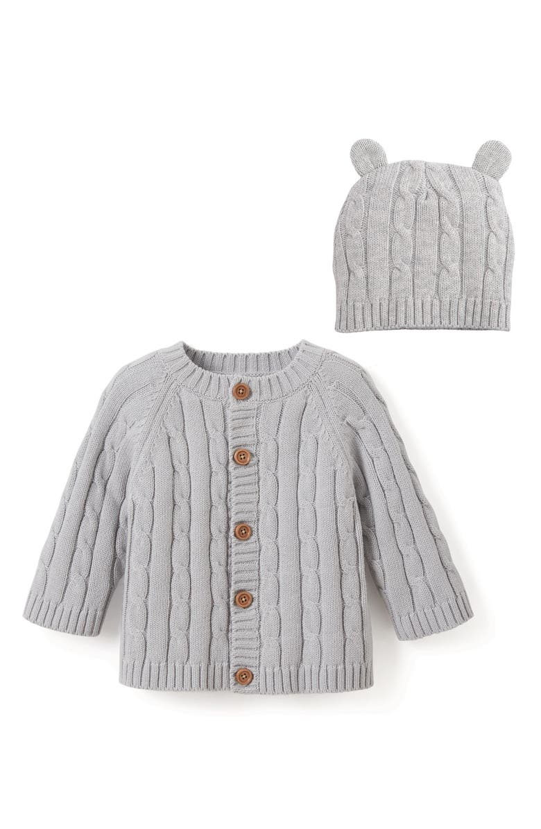 ELEGANT BABY Cable Knit Sweater & Hat Set, Main, color, GRAY