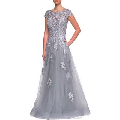 La Femme Embellished Mesh A-Line Gown, 0 (similar to 20W-2) - Grey