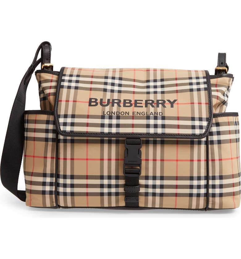 BURBERRY Flap Check Diaper Bag, Main, color, ARCHIVE BEIGE
