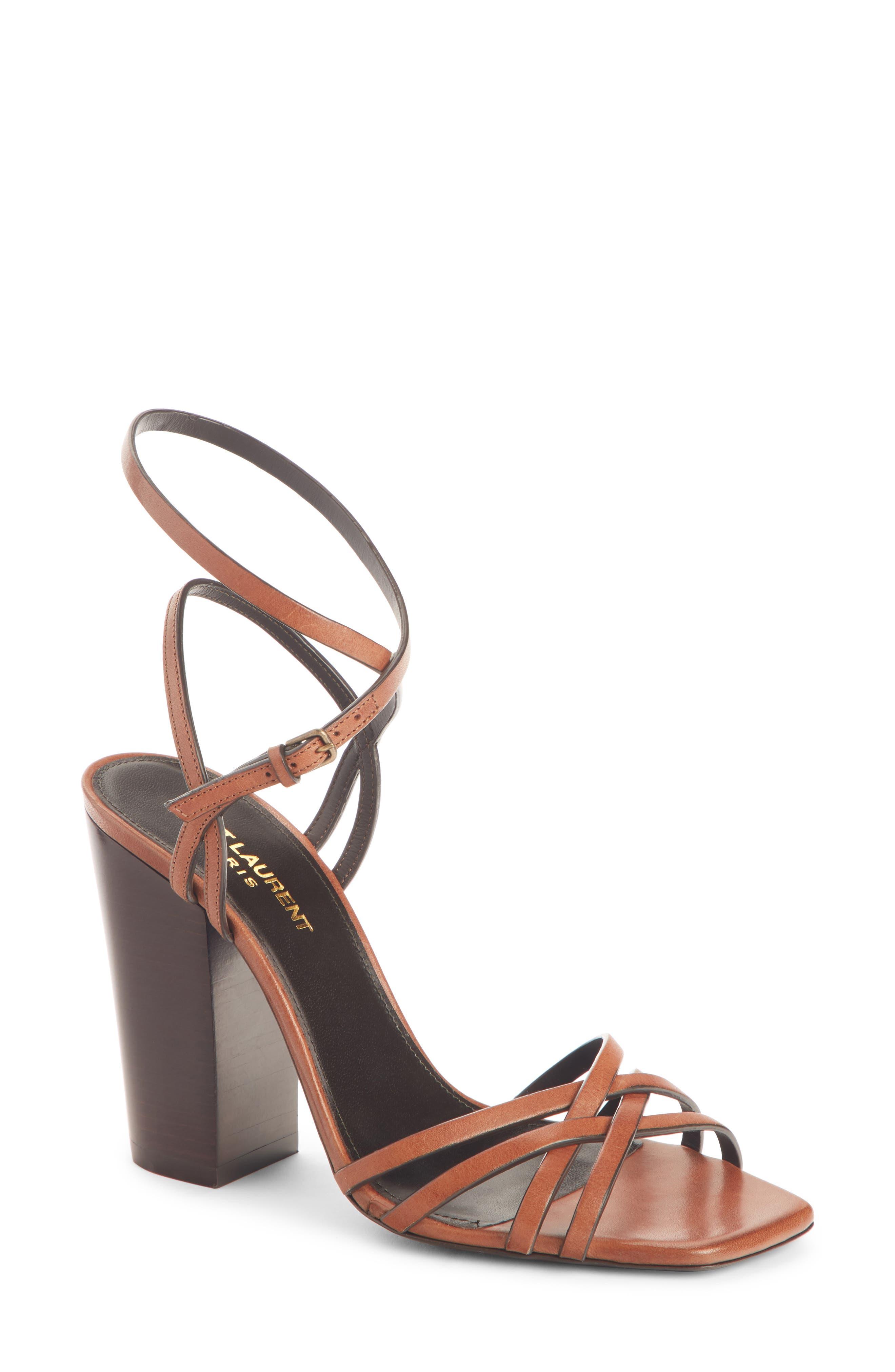 Saint Laurent Oak Crisscross Sandal, Brown