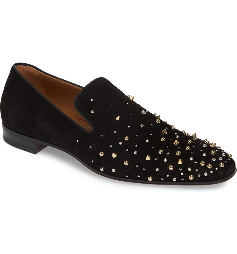 CHRISTIAN LOUBOUTIN Milkylion Studded Venetian Loafer, Main, color, BLACK/MULTI