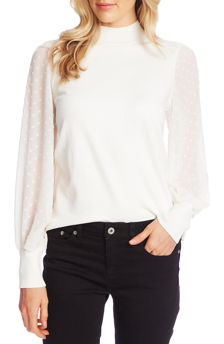CECE Clip Dot Sleeve Sweater, Main, color, ANTIQ WHITE