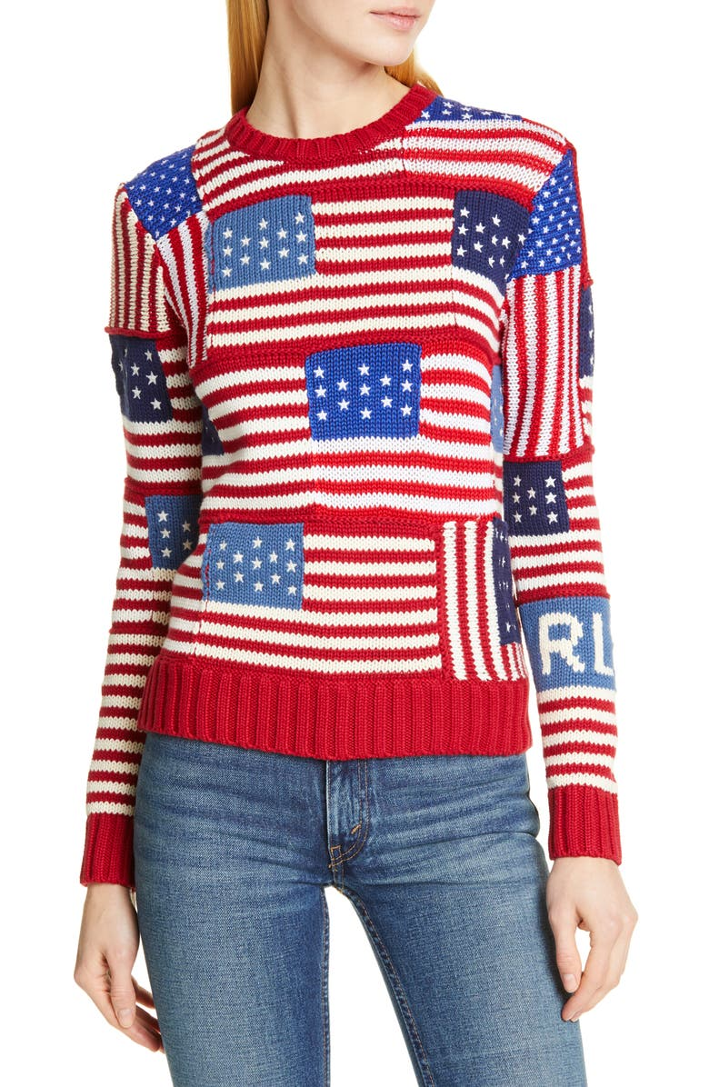 POLO RALPH LAUREN Patchwork Flag Sweater, Main, color, MULTI